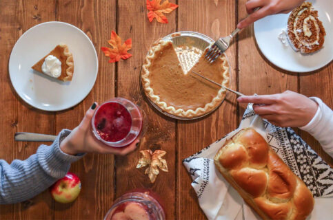 Thanksgiving nutrition tips - table full of Thanksgiving food